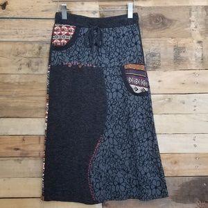 Vintage Concept Patchwork Midi Skirt